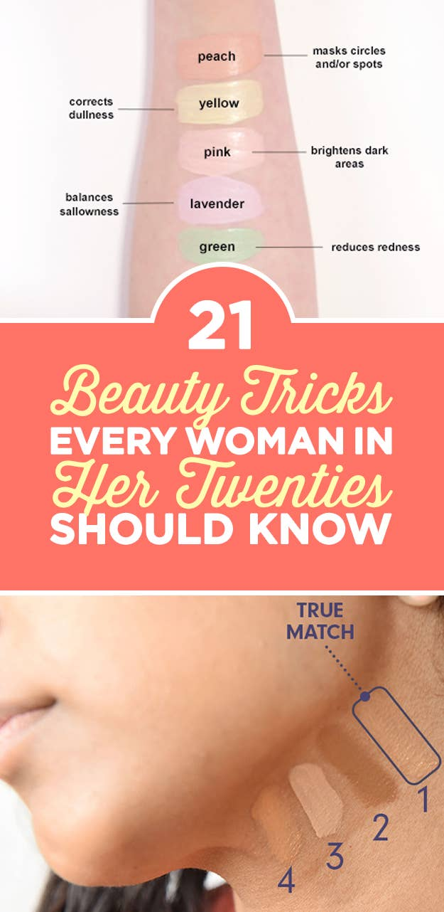 """""""If you're trying out tester foundation shades at a beauty counter, apply the shade to your neck instead of your arm for the most accurate match.""""—Augusta FallettaCheck out 21 Hair And Makeup Hacks Every Woman Should Know for more."""