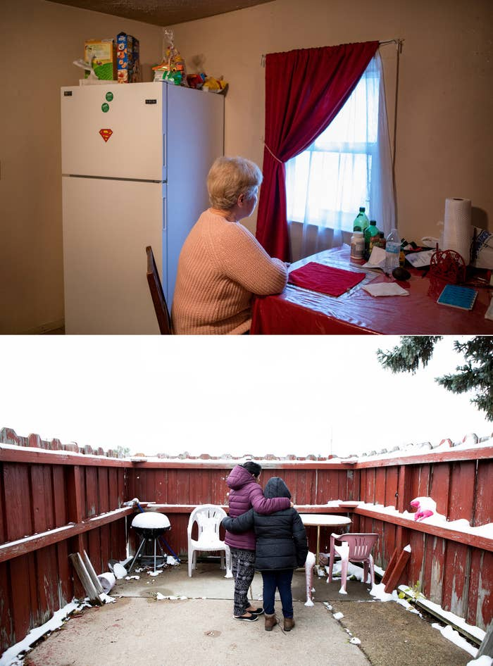 Rosa sits at her kitchen table. Angelica stands with her oldest daughter in their backyard. Both women were recently rounded up by immigration officials in O'Neill, Nebraska.