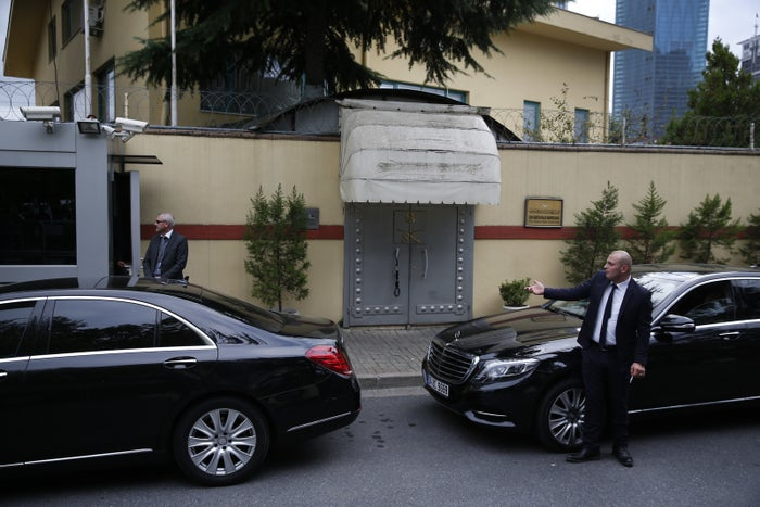 Security guards stand outside the Saudi Consulate in Istanbul.