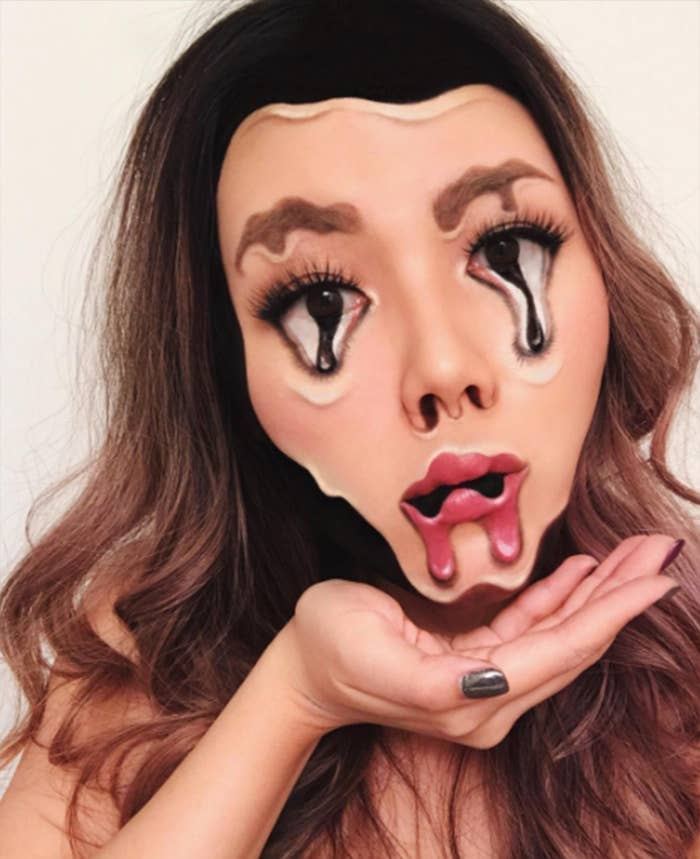 Find more terrifying makeup illusions like this on makeup artist Mimi Choi's Instagram.