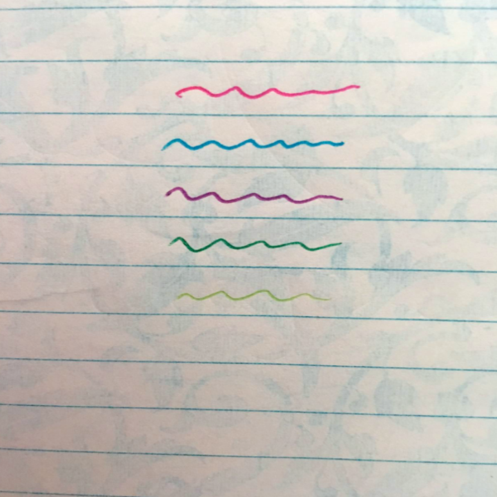 a reviewer's piece of paper testing all five ink colors