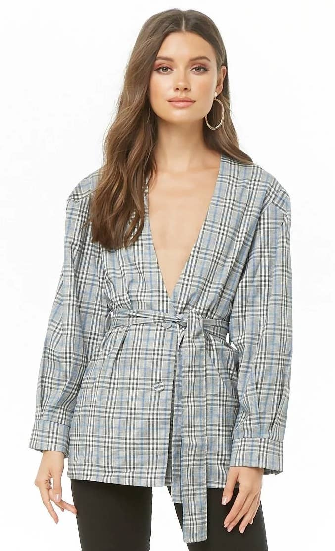 3cb53c17efe8f A balloon-sleeve, tie-waist plaid blazer people are sure to comment on —  and they won't just be full of hot air.