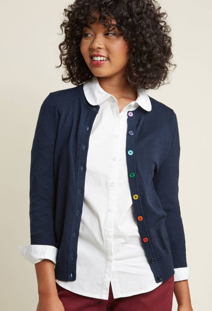 74ed82d908 A rainbow button cardi to tell the world you re ready to get down to ROY G.  BIVness.