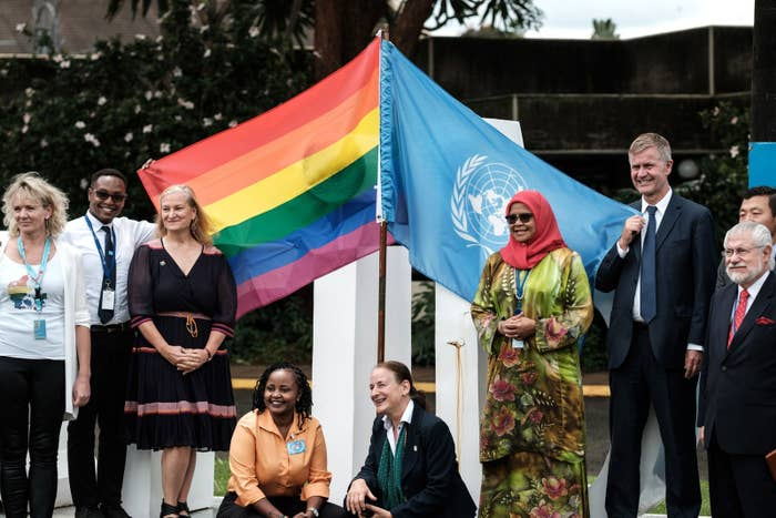 UN staffers pose during an event hosted by UN Globe, a staff group representing lesbian, gay, bisexual, transgender, and intersex staff members.