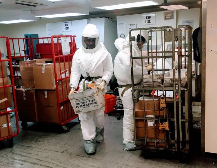US Defense Department personnel screening mail at a government facility near the Pentagon.