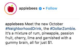 an applebees spokesperson said halloween is a favorite holiday around here and we