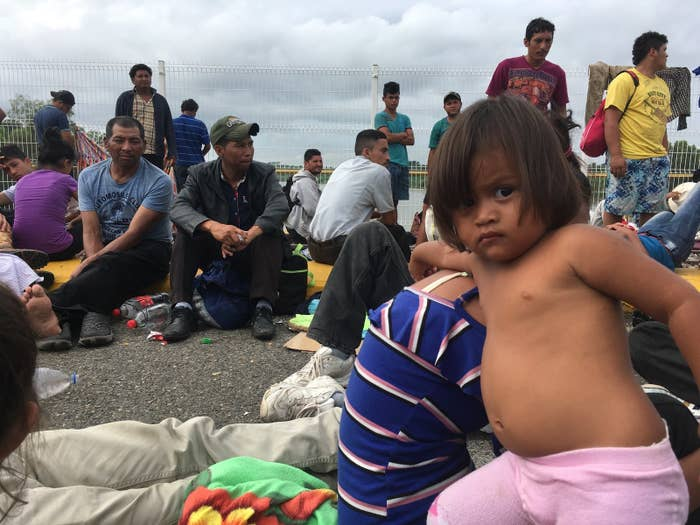 Hundreds of migrants, most of them from Honduras, waited Saturday for a chance to enter Mexico.