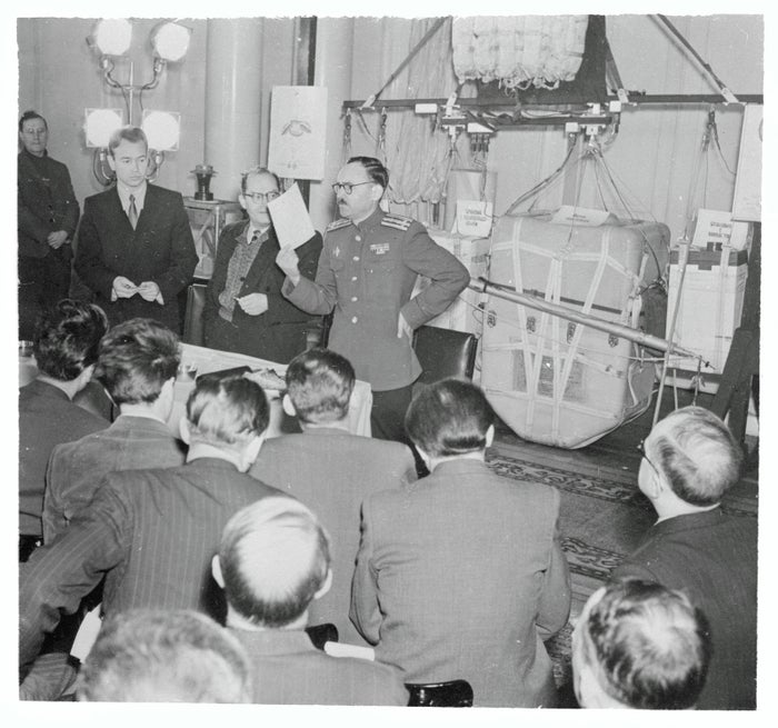 Soviet Army Col. A.V. Tarantsov at an elaborate press conference in Moscow, 1953.