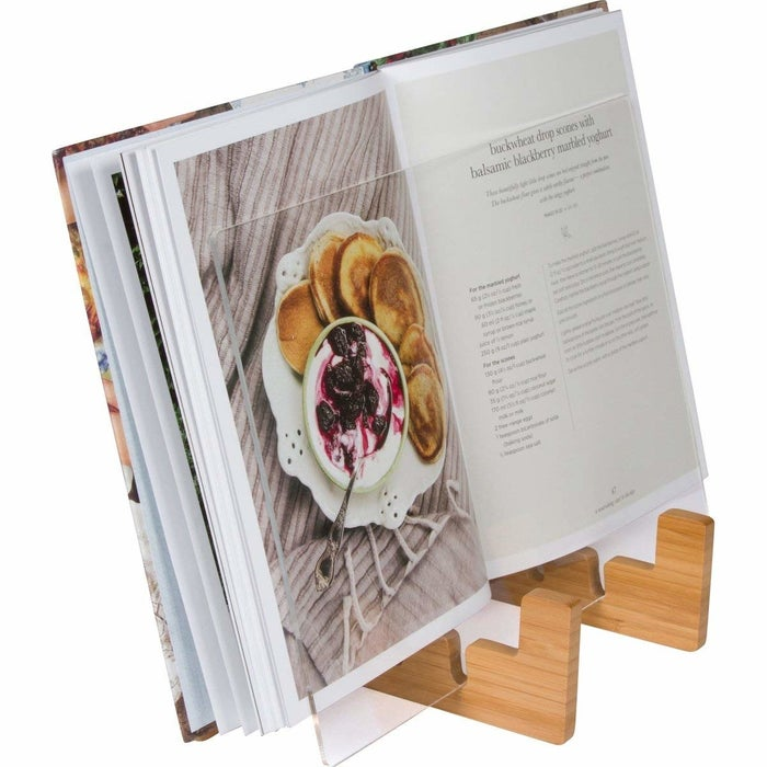 "Promising review: ""Extremely well made and can hold many different size cookbooks!"" —kreislfamGet it from Amazon for $36."