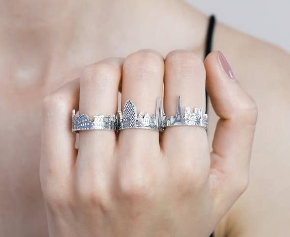 67291336d And this cityscape ring, available on Etsy from the Caitlyn Minimalist  shop, allows you to wear your love for a particular city on your finger in  the most ...