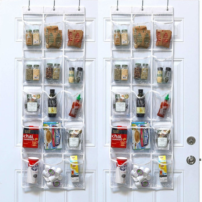 """Promising review: """"I love these over-the-door organizers. I know they sell them for shoes but I have never used them for shoes. They are big pockets, sturdy, and very nice heavyweight clear vinyl. If I have a door, I have one behind the door. It comes with hangers, which I like. The hangers are silver. So when I put them over the door (white doors), I just paint them with a little craft paint so that they look white and no one notices. I have one in the bathroom, one in the office, one inside my pantry, and one inside my craft room. They are just handy for all kinds of things you need at fingertips or that you do not want to lose. You cannot go wrong ordering these. They are a good sturdy product, packaged securely, and arrive quickly. I could not be happier with this product."""" —MLBGet a set of two from Amazon for $12.87."""