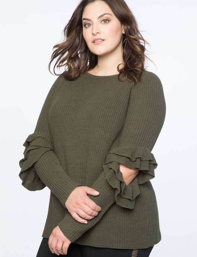 113d962552 A cozy sweater featuring ruffled sleeves you ll want to order in every  color and wear all season long.
