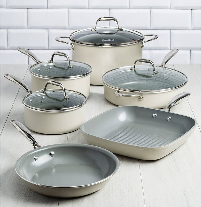 With this set: a fry pan, two quart saucepan with lid, grill pan, three quart saucepan with lid, jumbo cooker with lid and helper handle, dutch oven with lid, and a recipe booklet. How do I know you'll actually cook with these? Because they're all made with a durable titanium ceramic non-stick surface so sticky messes are non-existent — AND they're dishwasher safe! Plus they're oven-safe all the way up to 450°F. Get them from BuzzFeed's Goodful line, exclusively at Macy's for $214.99.