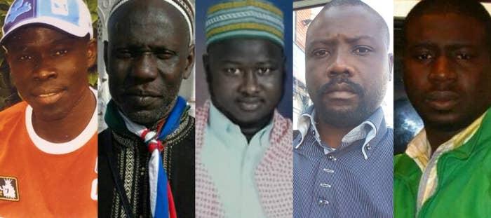 The five men killed in the collapse, from left to right: Almano Kinteh Jammeh, Ousmane Kaba Diaby, Mahamadou Jagana Jagana, Bangally Tunkara Dukaray, and Saibo Sumbundu Sillah.