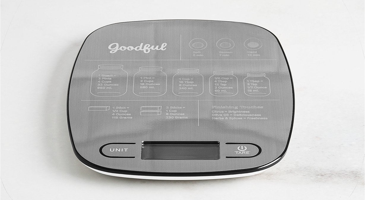 The scale can measure in grams, ounces, pounds, mililiters and fluid ounces, and also has a guide to how long to for soft, medium, and hardboiled eggs!Get it from BuzzFeed's Goodful line, exclusively at Macy's for $35.99.