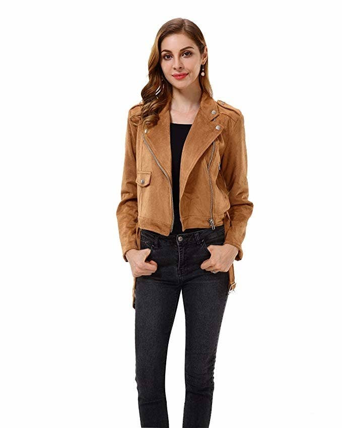 d143bb274a637 A faux suede jacket with a tie belt that ll make getting dressed a cinch.