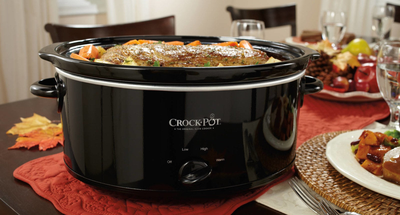 """This makes enough to serve approximately nine people. It has a low, medium, high, and warm setting, and comes with recipes for inspo. The stoneware and glass lid are removable and dishwasher-safe.Promising review: """"We just bought this Crock-Pot last week and so far we are loving it. It has a warm setting which lets us make a meal at night, let it cook overnight, and keep it warm for dinner time. Cleanup was extremely easy, and the instructions come with some recipes, which are great! The first meal we made was pot roast."""" —LovegoogleproductsGet it from Walmart or Jet for $19.77."""