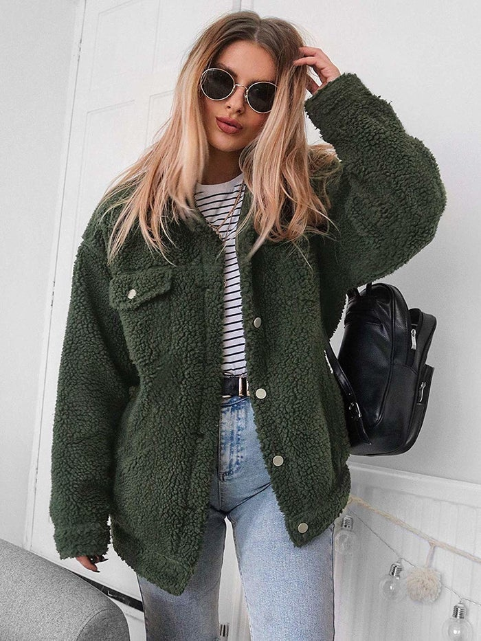 """Promising review: """"This jacket is soooo cute. It is exactly what I expected since the other reviews say the sizes run a bit small. I recommend ordering a size up. That's what I did and I love it. It's so soft and cuddly — like you're inside a teddy bear lol!"""" —CieraGet it from Amazon for $28.99+ (available in sizes S-3XL and in 13 colors)."""