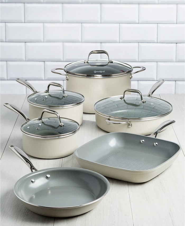 "The set comes with a 9.5"" fry pan, a 2-quart saucepan with lid, an 11"" grill pan, a 3-quart saucepan with lid, a 4-quart jumbo cooker with lid and helper handle, a 6-quart Dutch oven with lid, and a recipe booklet. The nonstick ceramic pans are PFOA- and PTFE-free (so they're eco-friendly!). The cookware is suitable for all cooking surfaces as well as the oven and are dishwasher-safe.Get it from BuzzFeed's Goodful line, exclusively at Macy's for $214.99."