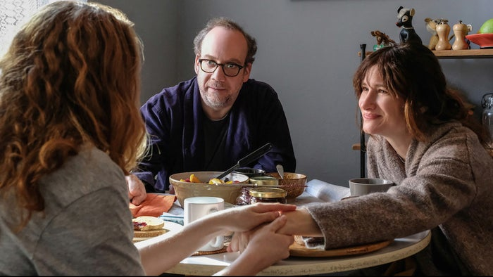 Kayli Carter, Paul Giamatti, and Kathryn Hahn in Private Life.