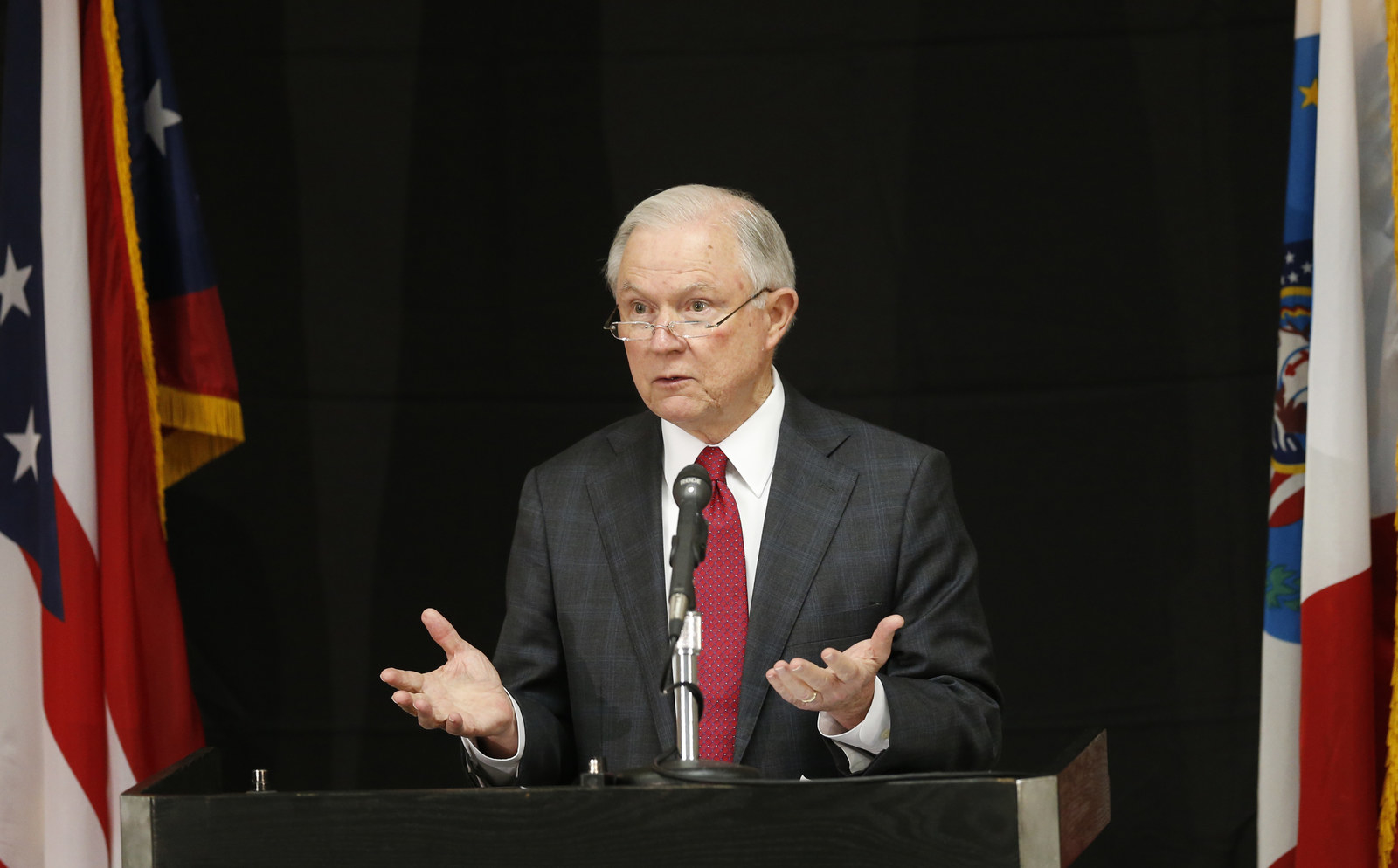 Attorney General Jeff Sessions announces the creation of the Opioid Fraud and Abuse Detection Unit on Aug. 2, 2017.