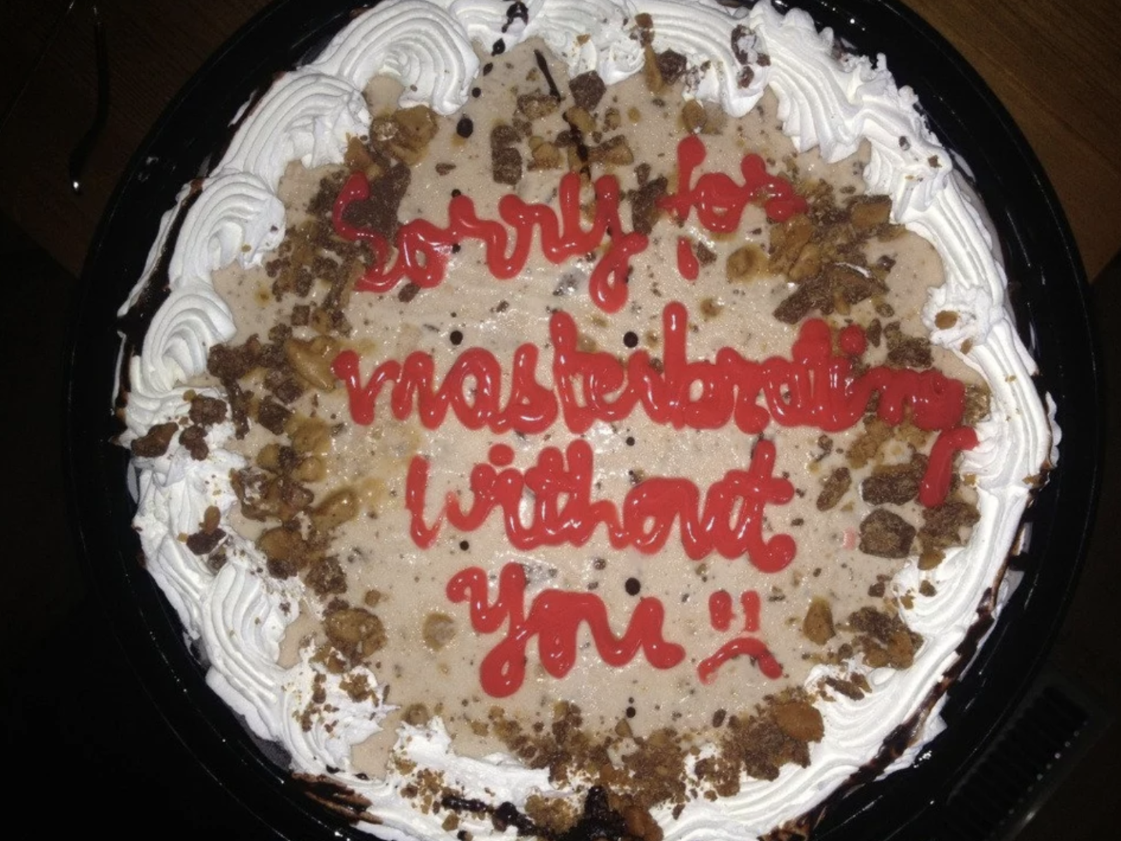 """Sorry for masturbating without you."""