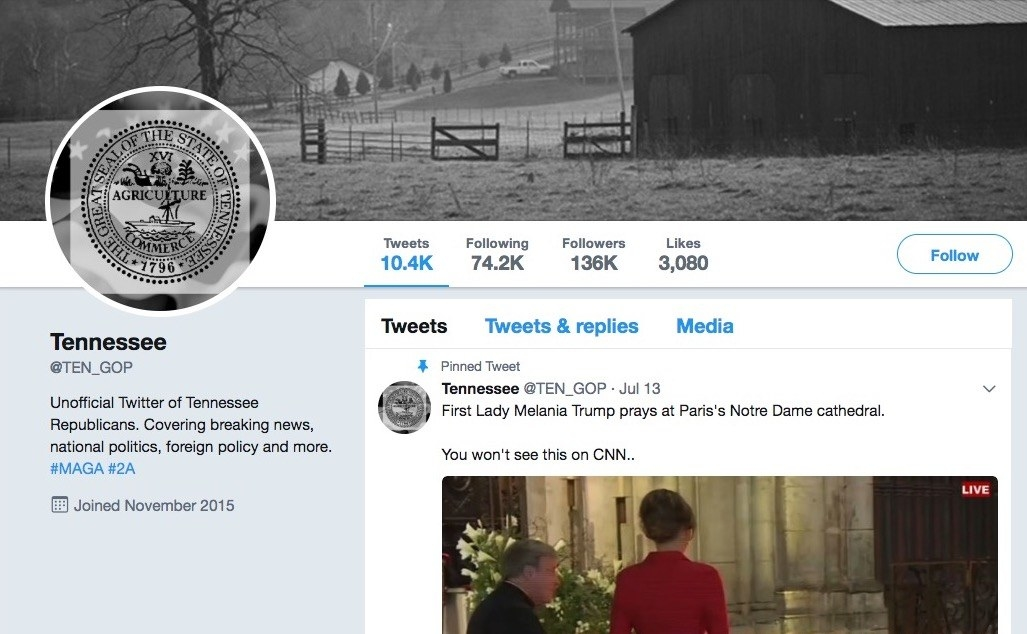 The @TEN_GOP account captured in July 2017, shortly before it was shut down.