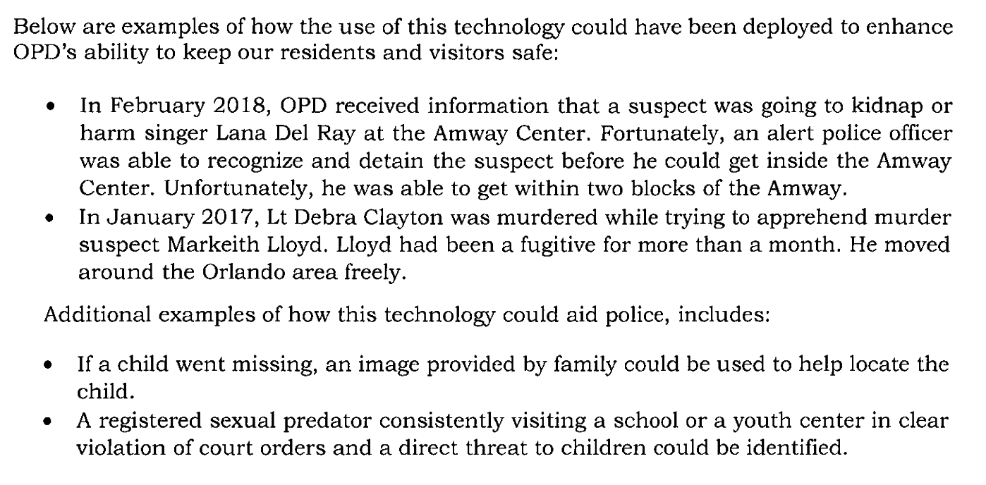 An excerpt from the memo written by the Orlando Police Department, explaining to the mayor and district representatives why a second-phase Amazon Rekognition pilot was needed.