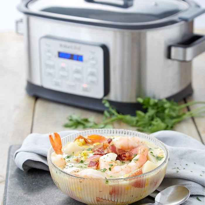 This multi-cooker can slow-cook, sear, sauté, cook rice, steam, stew, roast, bake, and keep warm up to 10 hours, with a delayed start function as well. It's built with an embedded microprocessor that carefully controls the timer and temperature to ensure consistent cooking results, and it's easily adjustable.