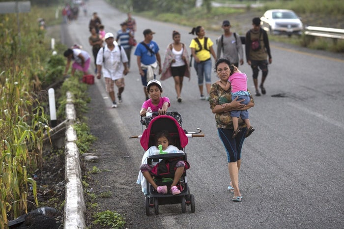 Central American migrants traveling with the caravan near Pijijiapan, Mexico.