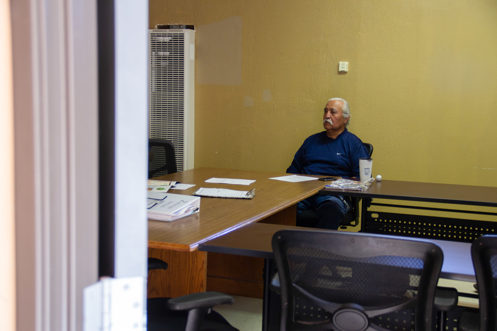 Willie Grayeyes, county commissioner candidate, at Shonto Chapter House in Shonto, Arizona.