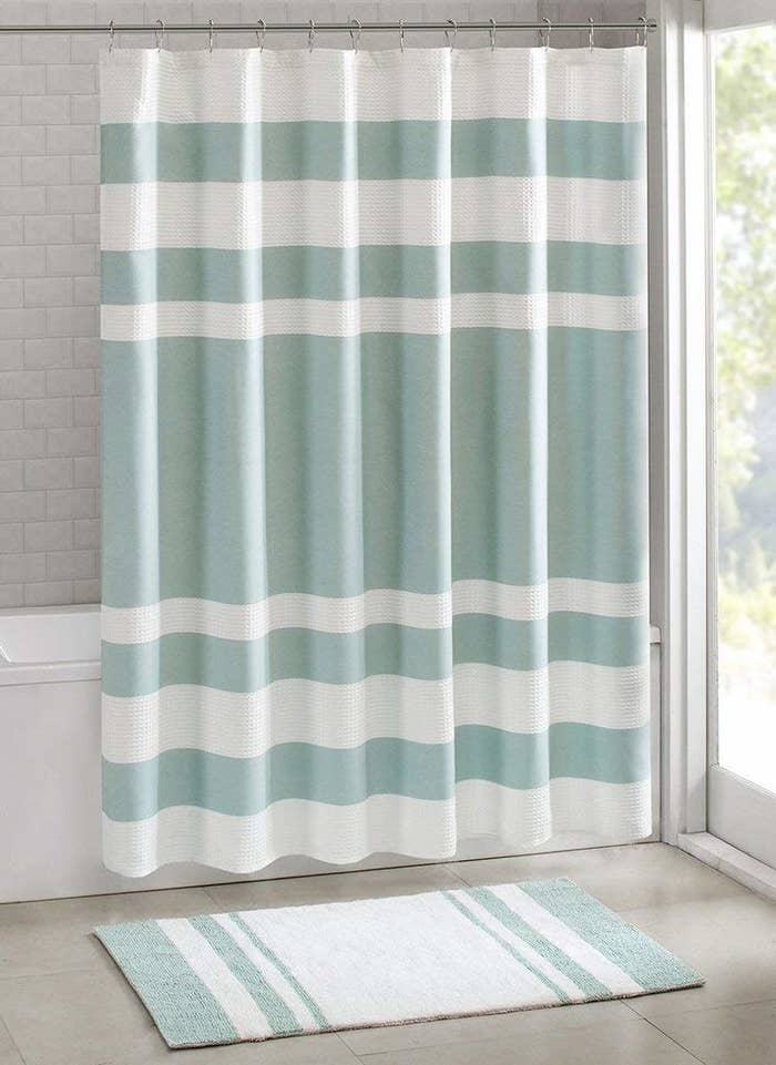 A Spa Style Curtain Thatll Make Your Bathroom Feel Like An Escape On The Daily And Scotchgard Treatment Means Mold Wont Ruin Vibe