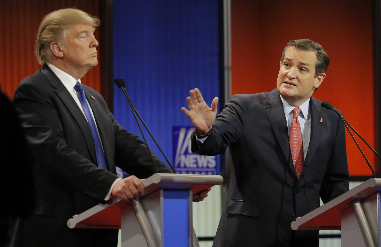 Cruz and rival candidate Donald Trump at the Republican presidential candidates debate in Detroit.