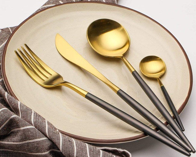 """The four-piece set is lead-, cadmium-, phthalate-, and BPA-free. It includes a dinner knife, dinner spoon, fork, and teaspoon. And it is recommended you hand-wash them.Promising review:""""This is a very elegant, casual service set. I love mine and will probably order another service for 12. I couldn't be more pleased. It is beautiful and still looks as good as the day I bought it."""" —SisGet them from Amazon for$21.99(available in nine colors)."""