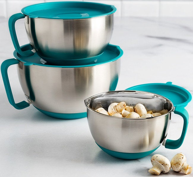 The six-piece set includes three stainless-steel mixing bowls that each come with a stainless-steel lid. The bowls can be machine-washed. Get them from BuzzFeed's Goodful line, exclusively at Macy's for $49.99.