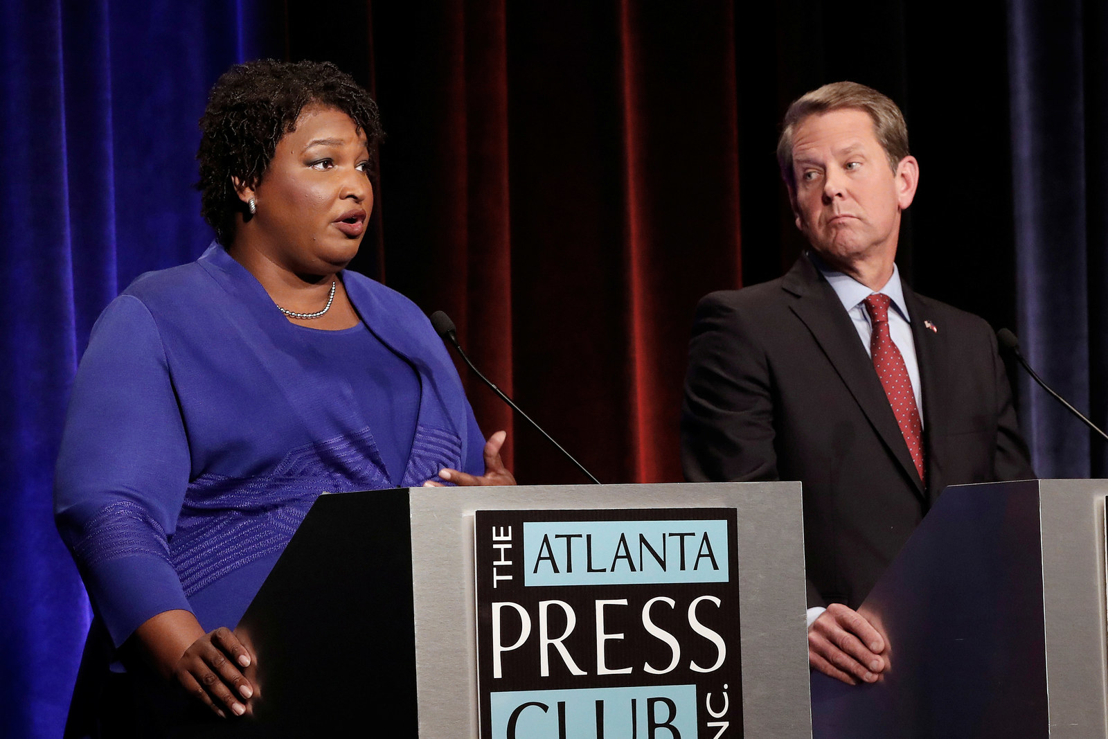 Georgia gubernatorial candidates Stacey Abrams and Brian Kemp during a debate in Atlanta.