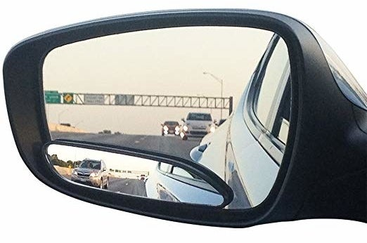 The blindspot mirror in use on a vehicle