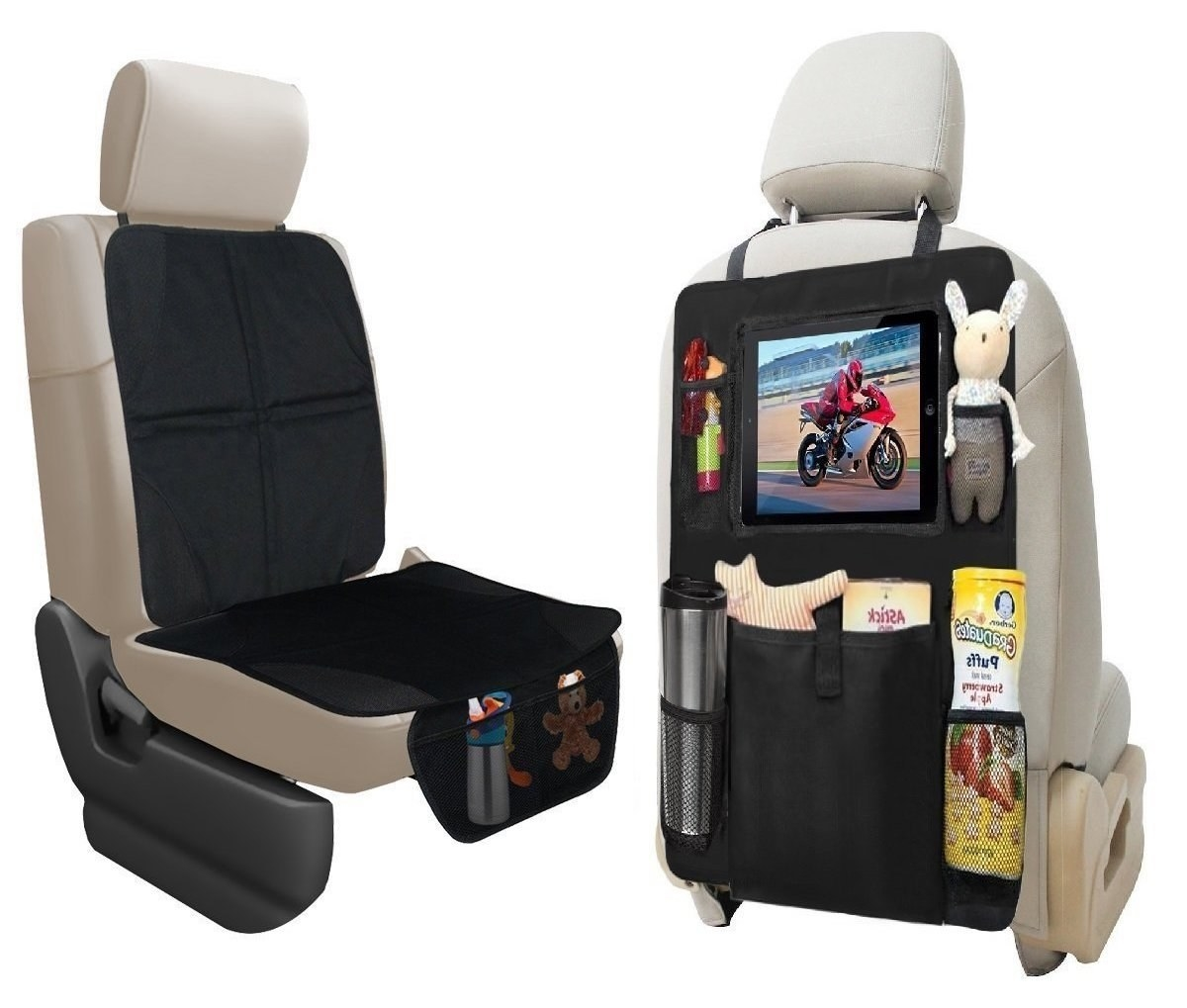 the backseat organizer showing multiple storage pockets
