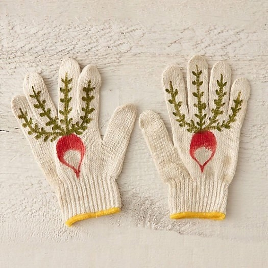 thin cotton gloves with radishes painted on them