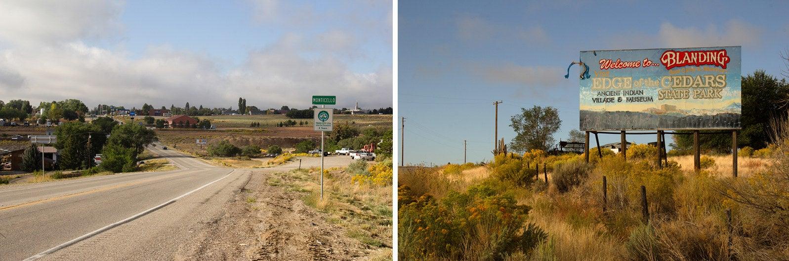 Signs outside Blanding, Utah.