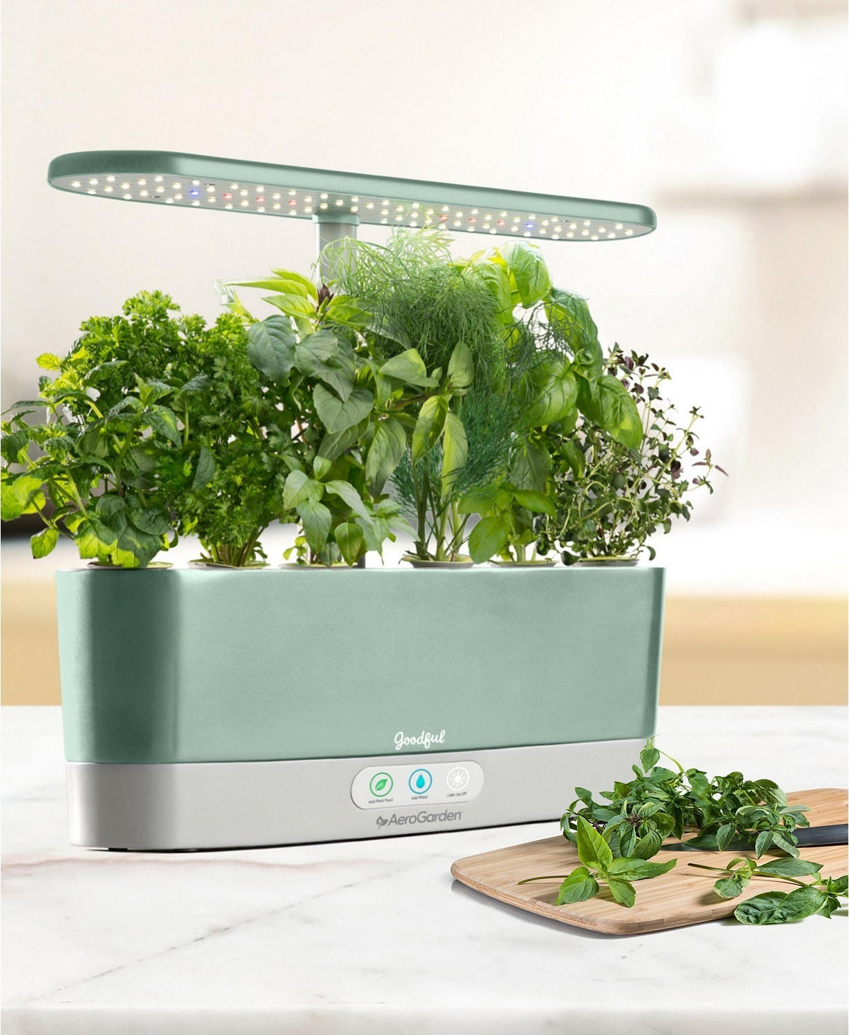 the aerogarden with herbs in it