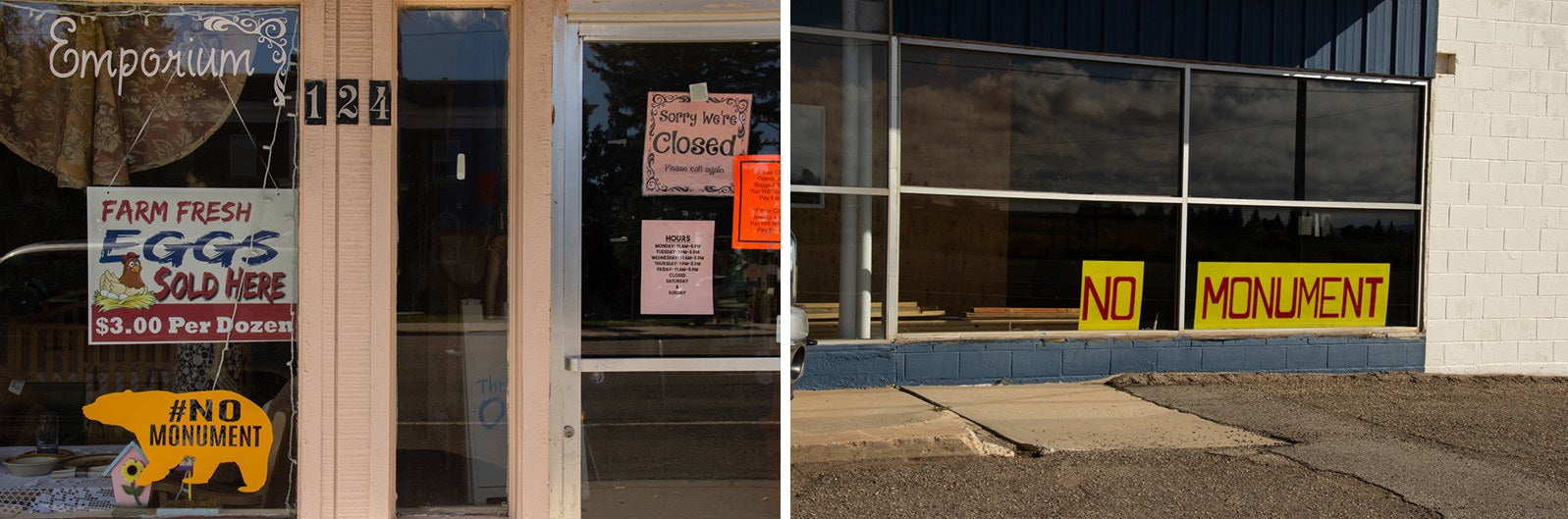 """""""No Monument"""" signs sit outside local businesses' windows in Monticello, Utah."""
