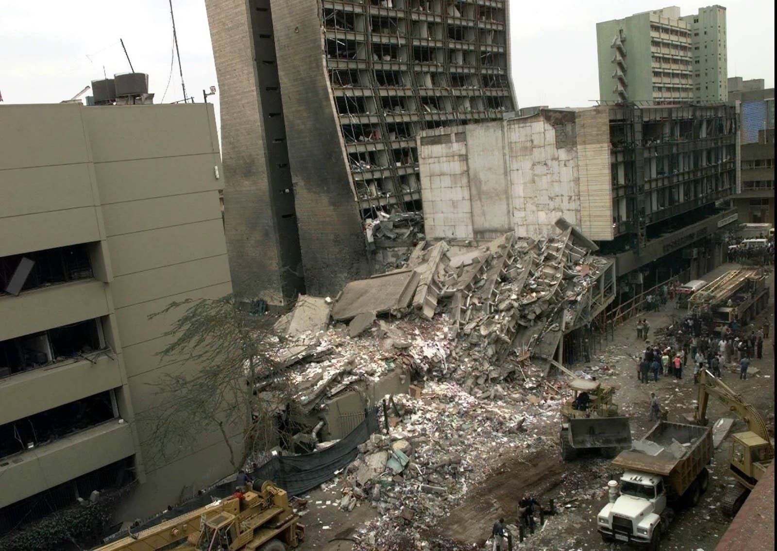The United States Embassy, left, and other damaged buildings in downtown Nairobi, Kenya, the day after the 1998 al-Qaeda bombings in Kenya and Tanzania.