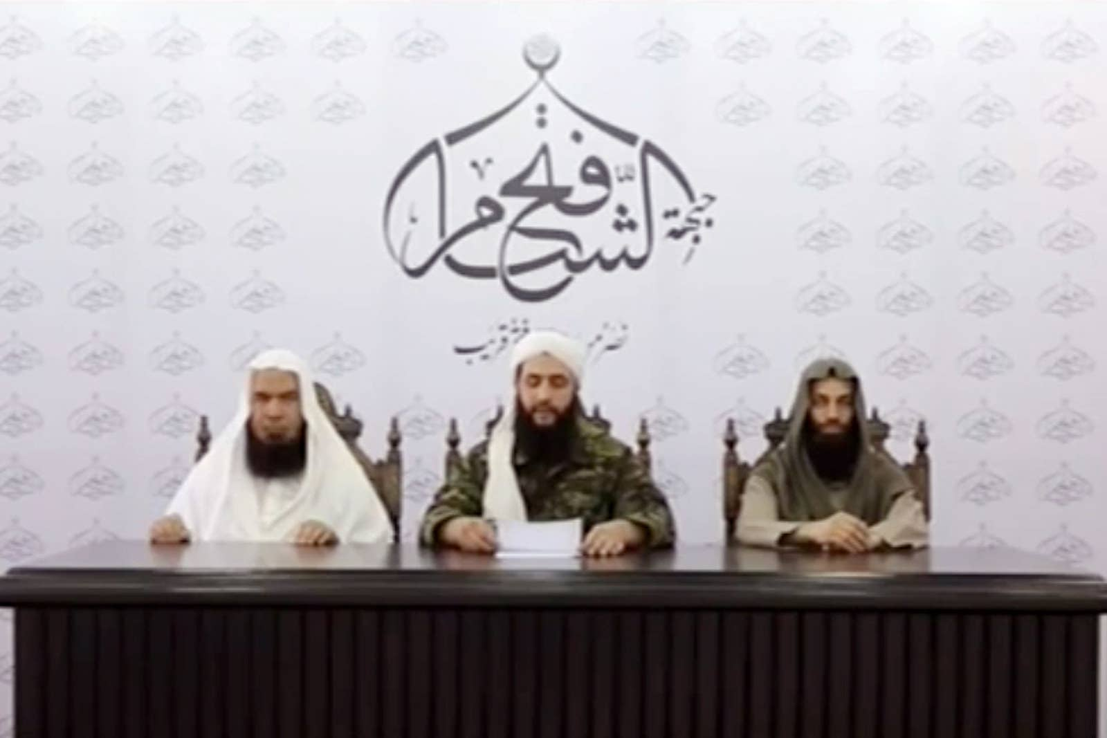 Abu Mohammad al-Julani, then the leader of the Syrian al-Qaeda branch the al-Nusra Front, announcing in mid-2016 that the group is breaking ties with al-Qaeda and changing its name.