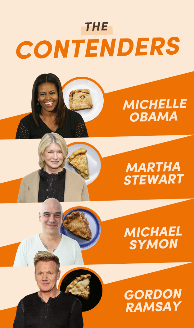 This was my lineup:1. Michelle Obama: Because I would literally trust Michelle with my life, so I had complete and total faith that her pie recipe would be banging — and her low and slow baking method piqued my interest.2. Martha Stewart: Because Martha is the queen of classic recipes, and her traditional pie recipe seemed like everything I ever wanted out of a pie. It looked classic, simple, and unfussy — but she of course had a trick up her sleeve to make it special. (Hint: It involves butter.)3. Michael Symon: Because he makes his crust with sharp cheddar cheese — which I know is a thing, but I just can't wrap my head around it. I needed to try it out for myself.4. Gordon Ramsay: Because he actually caramelizes his apples in a pan before putting them into his pie, and I was curious to see just how different they would taste.