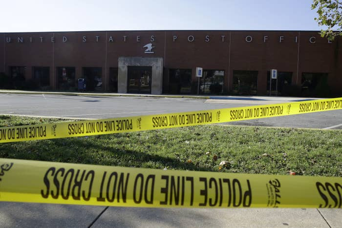 Police tape cordons off a post office in Wilmington, Delaware, after suspicious packages addressed to former vice president Joe Biden were intercepted at mail facilities in New Castle and Wilmington on Oct. 25.