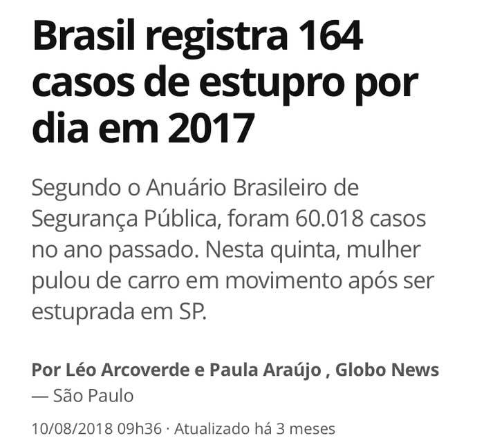 O Brasil registrou 60.018 casos de estupro em 2017, o que corresponde a uma média de 164 por dia, ou um a cada 10 minutos, segundo o 12º Anuário Brasileiro de Segurança Pública.