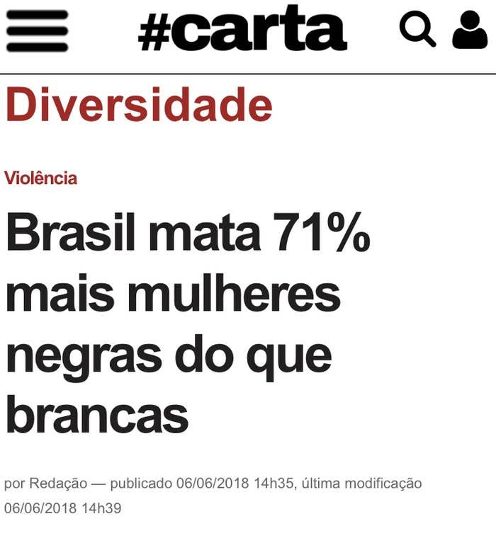 Dados do Atlas da Violência 2018 do Instituto de Pesquisas Econômicas Aplicada (Ipea) e do Fórum Brasileiro de Segurança Pública mostram que, em 2016, o número de mulheres assassinadas no Brasil foi de 4.645. A maioria das vítimas era negra.
