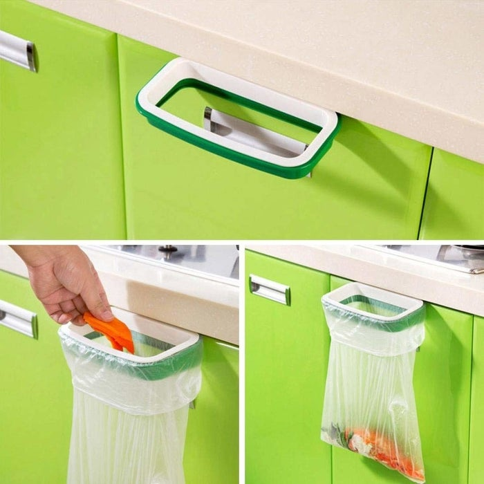 """Promising review: """"I love this little bag holder! We have to keep our trash can locked away from the dogs so this is really helpful in the kitchen! I mainly use it to throw out little things I know the dog won't be interested in — it really saves me from having to walk down to the laundry room to the big can constantly when I'm trying to cook.Price: $1.70"""