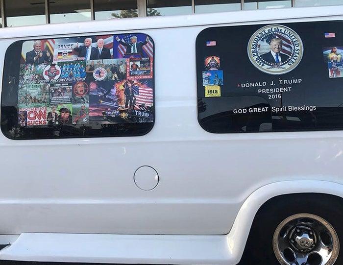 The suspected bomber's meme-covered van.